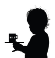 child with milk silhouette vector image vector image
