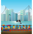 Children riding on train in the city vector image