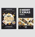 christmas party flyer design- golden design 2019 3 vector image vector image