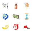 Clock icons set cartoon style vector image vector image
