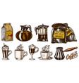 coffee in vintage style a bag grain cinnamon vector image