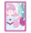 cute little mermaid princess bubbles sea seaweed vector image vector image