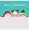 cute santa claus christmas elf and reindeer vector image