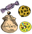 drawn colored cookies vector image vector image