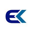 ek initials techno style lettermark symbol logo vector image