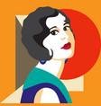 fashion woman portrait art deco style flat design vector image vector image