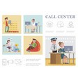 flat call center composition vector image vector image