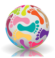 Footprint on the ball vector image vector image