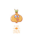 funny cartoon cute tiny onion character vector image
