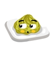 Funny wasabi on plate cartoon character vector image vector image