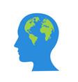 globe in human head icon cartoon of vector image