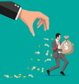 hand tries to grab money running businessman vector image vector image