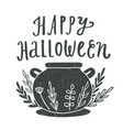 happy halloween witches caldron silhouette vector image vector image