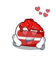 in love red velvet mascot cartoon vector image vector image