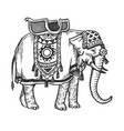 indian elephant engraving vector image