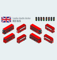 isometric set of london double decker red bus vector image vector image