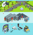 isometric surveillance system horizontal banners vector image vector image
