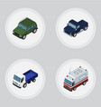 isometric transport set of armored first-aid vector image vector image