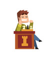 male chess player playing chess vector image