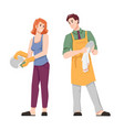 man wipes and woman washes dishes family chores vector image