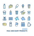 milk dairy products signs color thin line icon set vector image