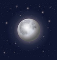 nightly sky scene background with moon and stars vector image vector image