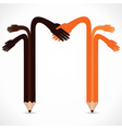Pencil hands want to hand shake vector image