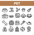 pet line icon set animal care grooming vector image