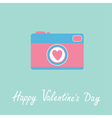 Photo camera with heart Happy Valentines Day vector image vector image
