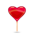 pink candy on a stick in the form of heart vector image vector image