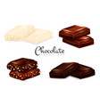 realistic chocolate types set vector image vector image