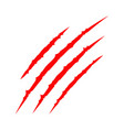 Red bloody claws animal scratch scrape track cat vector image