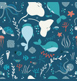 seamless pattern with underwater ocean animals vector image