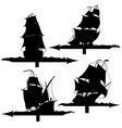 set of silhouettes of sailing ships weather vanes vector image