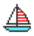 ship yacht boat pixel art cartoon retro game style vector image