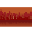 Silhouette of city with red color vector image