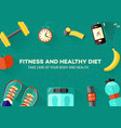 sports and healthy lifestyle banner with top view vector image