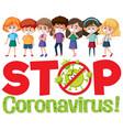 stop coronavirus logo with group teenager vector image vector image