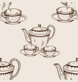 tea set utensil seamless pattern engraving vector image