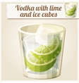 Vodka with lime and ice cubes Detailed vector image vector image