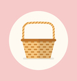 Wicker basket flat icon vector image