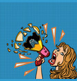 woman with megaphone advertising announcement vector image