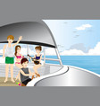 young people riding a motor boat vector image vector image