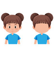 a brunette bun hair girl vector image