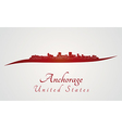 Anchorage skyline in red vector image vector image