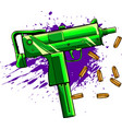 army uzi weapon with bullets ad blood vector image vector image