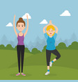 athletic people practicing exercise characters vector image vector image