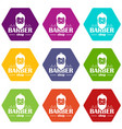 barber shop icons set 9 vector image