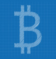 bitcoin icon grey color blueprint background vector image