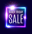 black friday text on dark blue neon background vector image vector image